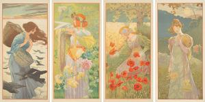 One of the Spanish Modernisme era's masters, Alejandro de Riquer, spurred impressive bids. His 1900 The Four Seasons, estimated at $7,000-$9,000, garnered $12,000.