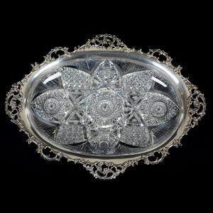 American Brilliant Cut Glass serving tray with an elaborate sterling rim marked Gorham, with a well-cut design of vesica, hobstar, block and mitre motif.