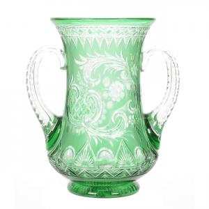 Brilliant Period Cut Glass two-handled, green cut to clear loving cup, 6 ¾ inches tall, with an engraved floral and rococo design attributed to Stevens & Williams.