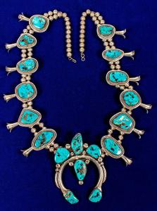 """Spectacular silver and exquisite sky-blue turquoise squash blossom necklace, circa 1950s or '60s, """"the finest one we've ever seen,"""" according to Fred Holabird (est. $3,000-$4,000)."""