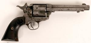 First-generation Colt single action Army revolver, made in 1895 (serial #159597), with a 4 ¾ inch barrel on a black powder frame, in overall very good condition (est. $3,000-$8,000).