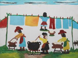 Original oil on canvas painting by Clementine Hunter (Louisiana, 1886-1988), titled Wash Day (circa 1985), signed lower center right, 17 ¾ inches by 23 ½ inches (est. $3,000-$5,000).