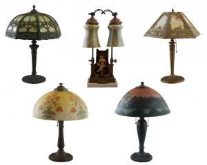 The lighting category includes a collection of art glass table lamps, including examples from Salem Brothers, Miller, H.E. Rainaud and Handel.
