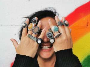 Kathryn McLean with the Fire & Ice rings