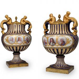 Pair of Monumental Sevres Royal Urns
