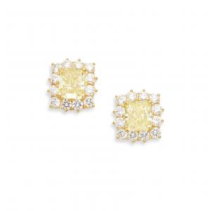 Pair of radiant cut natural fancy intense yellow diamond ear studs with a total weight of 6.52 carats (est. $25,000-$35,000).