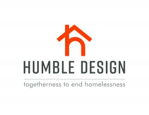 """This is the national logo for Humble Design, Inc. The symbol is a lower case """"h"""" with a """"roof"""" intersecting the top of the """"h"""" with the tagline underneath, """"Togetherness to End Homelessness"""""""