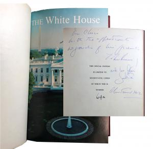 John F. and Jacqueline Kennedy signed copy of The White House: A Historic Guide, a gift at the White House's 1962 Christmas party, the couple's last Christmas together (est. $6,000-$8,000).