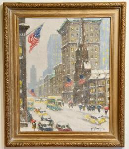 "Snowy oil on panel New York street scene by Guy Carleton Wiggins (American, 1883-1962), titled Winter at 57th and 5th, signed front and back and dated ""1948"" (est. $40,000-$100,000)."