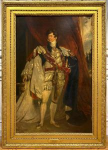 Two gorgeous portrait paintings attributed to Sir Thomas Lawrence (British, 1769-1830) will be sold, including this large oil on canvas portrait of King George IV (est. $35,000-$60,000).