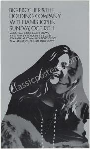 Ultra-Rare 1968 Big Brother Janis Joplin Poster