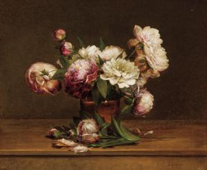 Oil on canvas by Charles Ethan Porter (American, 1847-1923), titled Peonies, signed, 20 inches by 24 inches (est. $15,000-$25,000).
