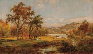 Oil on canvas by Jasper Francis Cropsey (American, 1823-1900), titled Delaware River, signed and dated, 12 inches by 20 inches (est. $30,000-$50,000).