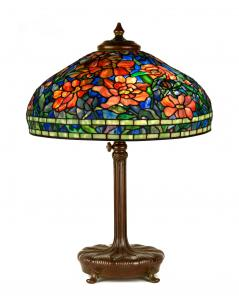 The many outstanding Tiffany Studios (N.Y.) lamps and accessories in the sale from various collections include this fine Peony table lamp with a 22-inch shade (est. $60,000-$80,000).