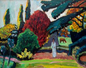 Two paintings by Gabriele Münter (German, 1877-1962) will be sold, including this gorgeous oil on board titled Dame im Park, Mariahalde (est. $150,000-$250,000).