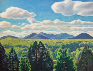 Painting by Rockwell Kent (American 1882-1971) titled Tree Tops and Mountain Peaks, done in 1960 and shown and at The Adirondack Museum in Blue Mountain Lake, N.Y. (est. $80,000-$120,000).