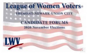 An image of the League of Women Voters logo is shown with the caption 'CANDIDATE FORUMS 2020 NOVEMBER ELECTIONS'