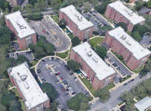 Photo of six, medium-rise apartment buildings in Howard Beach, Queens that house over 500 residential units.