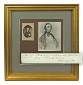 "Receipt signed by Edgar Allan Poe (1809-1849), probably acknowledging payment for publication of his poem The Raven, dated in Poe's hand (""April 16 / 45"") with two portraits (est. $60,000-$70,000)."