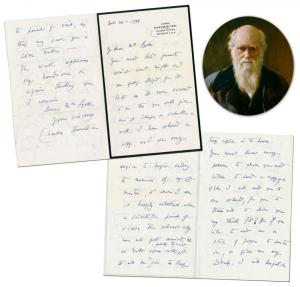 Superb four-page autographed letter signed by Charles Darwin and dated November 20, 1881, in which he discusses his mentor, the Scottish geologist Sir Charles Lyell (est. $20,000-$30,000).