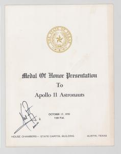 State of Texas Medal of Honor Presentation program from October 17, 1970, for the Apollo 11 astronauts, signed by Neil Armstrong (est. $2,000-$3,000).