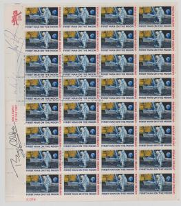 """Full sheet of Apollo 11 10-cent U.S. stamps (""""First Man on the Moon"""") signed by Neil Armstrong, Buzz Aldrin and Michael Collins (est. $1,000-$2,000)."""