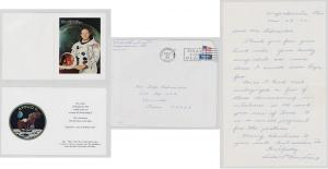 Neil Armstrong signed invitation to a September 1969 Homecoming, with a letter from Armstrong's mother. The astronaut's signature is nice and bold (est. $500-$800).