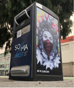 One of the local artist-designed Big Belly trash receptacles with technology via Rubbish QR codes on almost every corner of the SoMa West CBD.