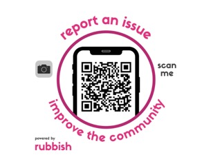 Residents can report an issue to the Community Clean Team by using this Rubbish QR code.