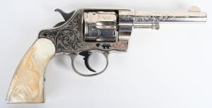 Antique Cuno Helfricht-engraved Colt Navy .41-caliber revolver, pearl stocks with carved steer head. Shipped in 1897. Estimate $8,000-$12,000