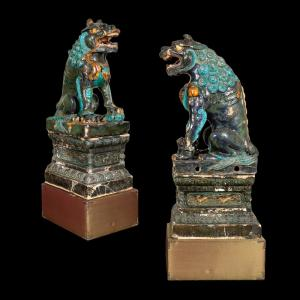 Monumental pair of Chinese Ming dynasty (1368-1644) tileworks of Buddhist lions, from the Doris Duke estate, 53 inches tall ($37,200).