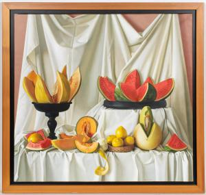 Oil on canvas still life painting of sliced fruit by Peter Von Artens (Argentina, 1937-2003), titled Melons, depicting watermelons, honeydew and cantaloupe, 40 inches by 42 inches ($18,150).