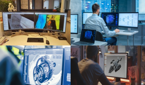 A collage of four pictures showing different computer graphics applications each displayed on a standard desktop monitor but accessed remotely
