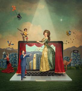 A digital image reflects the digital season announced by Vancouver Opera created by Emily Cooper