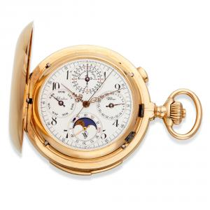 This Clinton Ultra 18kt gold minute repeating perpetual calendar pocket watch, with additional complications, circa 1900, changed hands for $10,625.