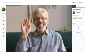 Screenshot of two-way video meeting on TeleAccountant™ by CountingWorks PRO platform. Man waving at camera and smiling, meeting with his CPA.