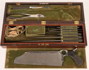 Civil War-era military amputation kit made around 1861 by G. Tiemann & Co. (N.Y.), which had been making surgical instruments since 1826 ($5,000).