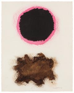 Untitled, #30 (1970), an acrylic on paper by Adolph Gottlieb (American, 1903-1974), signed, dated and numbered, 23 ¾ inches by 18 ¾ inches ($162,500).