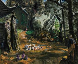 Oil on panel by George Bellows (American, 1882-1925), titled Farmer and Chickens, Woodstock, October 1922, signed, 20 inches by 24 inches ($106,250).