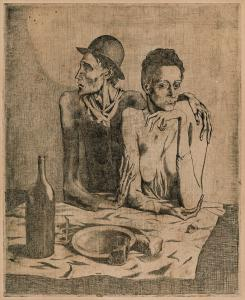 Etching with drypoint on Van Gelder Zonen paper by Pablo Picasso (Spanish, 1881-1973), titled Le Repas Frugal (1904), from La Suite des Saltimbanques, etching with drypoint on Van Gelder Zonen paper (1913), from an edition of 250, published by A. Vollard