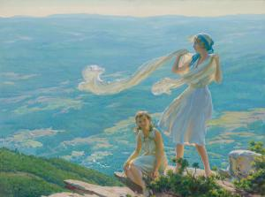Oil on canvas board by Charles Courtney Curran (American (1861-1942), titled Wind on the Cliff, signed and dated, 30 inches by 40 inches ($100,000).