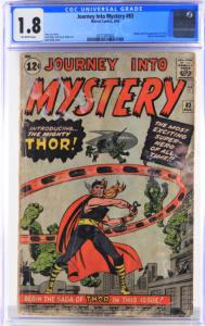 Copy of Marvel Comics Journey Into Mystery #83 (Aug. 1962), featuring the origin and first appearance of Thor, graded CGC 1.8, with off-white pages (est. $2,000-$3,000).