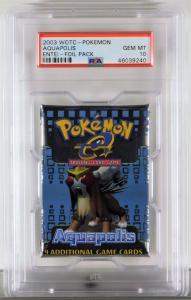 2003 Wizards of the Coast Pokémon Aquapolis Entei trading card foil pack, with a tip-top grade of PSA 10 Gem Mint.