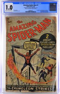 Copy of Marvel Comics Amazing Spider-Man #1 (March 1963), graded CGC 1.0, featuring the second appearance of Spider-Man (est. $1,500-$2,500).
