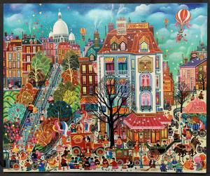 Parisian scene depicting the village of Montmartre by Hiro Yamagata (Japanese/American, b. 1948), titled simply Montmartre, 25 ¾ inches by 21 ¼ inches (sight, less frame) ($12,000).