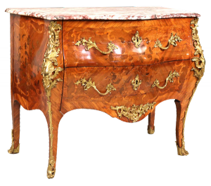 "French Louis XV marble-top marquetry inlaid commode, stamped under the marble top on left side, ""CRESCEN"" with three fleur de lis."