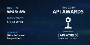 Award logo for Sikka's 2019 Best in Health APIs Award from API World
