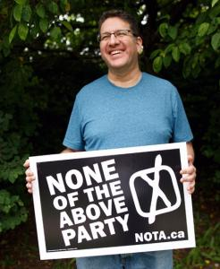 None of the Above Party candidate Above Znoneofthe (Cole Burston / THE CANADIAN PRESS)