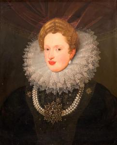 Stunning 17th century English, Netherlands or Spanish School oil portrait of a Royal or Court Lady, unsigned and unframed, with a panel size of 27 inches by 22 inches ($14,760).