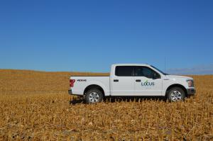 Locus AG CarbonNOW Truck in Midwest Agriculture Field